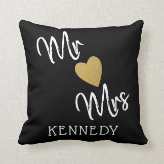 Black And Gold Heart Mr And Mrs Throw Pillow