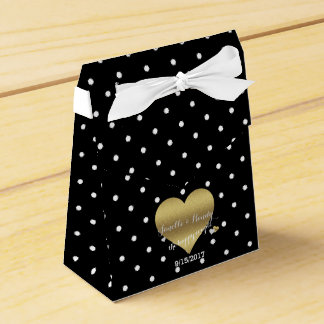 Black And Gold Heart Polka Dots Party Favor Boxes