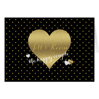 Black And Gold Heart Polka Dots Party Note Cards