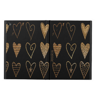 Black and Gold Hearts Custom iPad Air 2 Case