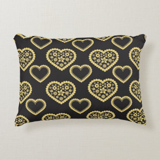 Black and Gold Hearts Pattern Decorative Pillow
