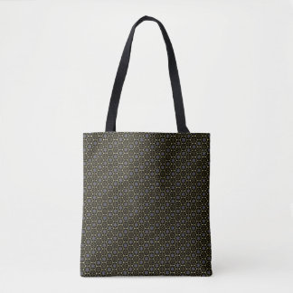 Black-and-Gold Hexagonal-Pattern Tote Bag