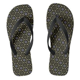 Black-and-Gold Hexagonally-Patterned Flip-Flops Flip Flops
