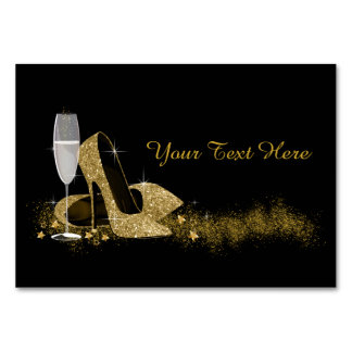Black and Gold High Heel Shoe Card