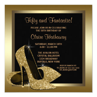 "Black and Gold High Heels Womans 50th Birthday 5.25"" Square Invitation Card"