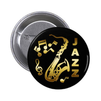 BLACK AND GOLD JAZZ 2 INCH ROUND BUTTON