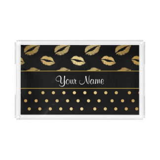 Black and Gold Kisses and Love Hearts Serving Tray