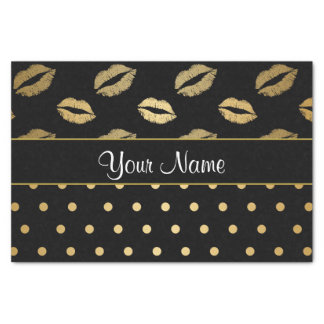 Black and Gold Kisses and Love Hearts Tissue Paper