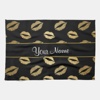Black and Gold Kisses Kitchen Towel
