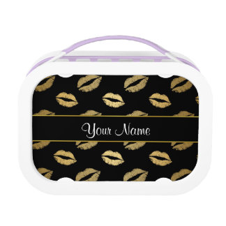 Black and Gold Kisses Lunch Box