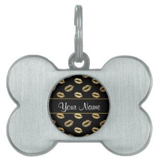 Black and Gold Kisses Pet ID Tag