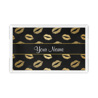 Black and Gold Kisses Serving Tray