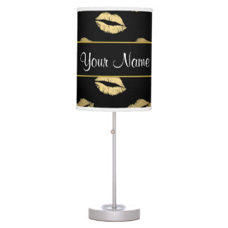 Black and Gold Kisses Table Lamp