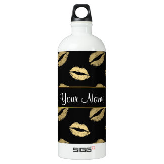 Black and Gold Kisses Water Bottle