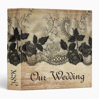 Black and Gold Lace Paper Vintage Wood Wedding Binder