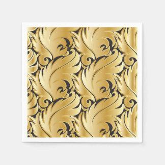 Black and Gold Leaf Design Disposable Napkin