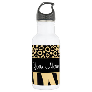 Black and Gold Leopard and Zebra Pattern 532 Ml Water Bottle