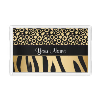 Black and Gold Leopard and Zebra Pattern Acrylic Tray