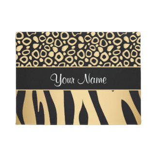 Black and Gold Leopard and Zebra Pattern Doormat
