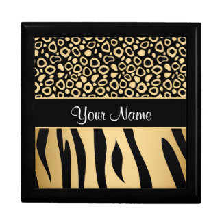 Black and Gold Leopard and Zebra Pattern Gift Box
