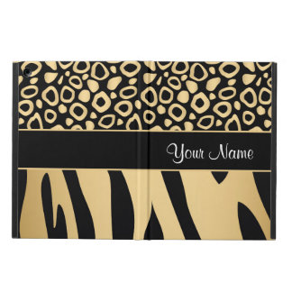 Black and Gold Leopard and Zebra Pattern iPad Air Covers