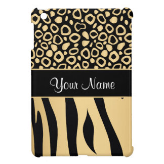 Black and Gold Leopard and Zebra Pattern iPad Mini Cover
