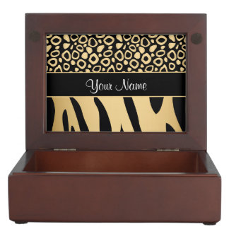 Black and Gold Leopard and Zebra Pattern Keepsake Box