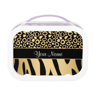 Black and Gold Leopard and Zebra Pattern Lunch Box