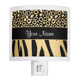 Black and Gold Leopard and Zebra Pattern Nite Lights