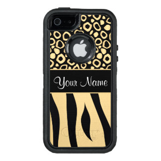 Black and Gold Leopard and Zebra Pattern OtterBox Defender iPhone Case