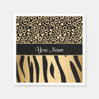 Black and Gold Leopard and Zebra Pattern Paper Napkins