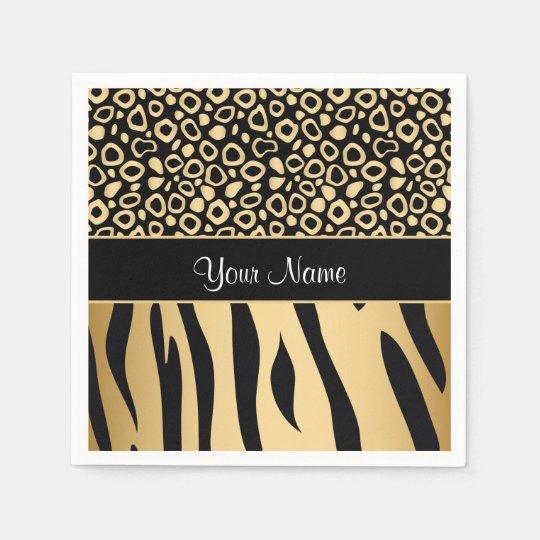 Black and Gold Leopard and Zebra Pattern Paper Napkins
