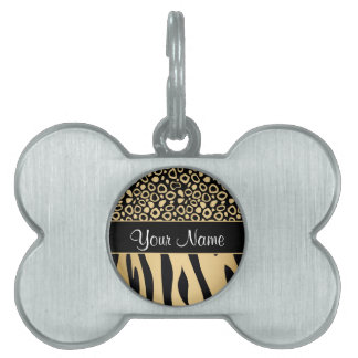 Black and Gold Leopard and Zebra Pattern Pet Name Tag
