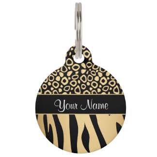Black and Gold Leopard and Zebra Pattern Pet Tag