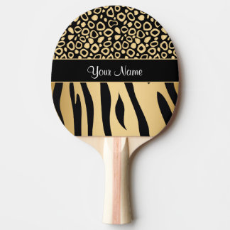 Black and Gold Leopard and Zebra Pattern Ping Pong Paddle
