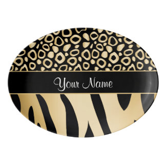 Black and Gold Leopard and Zebra Pattern Porcelain Serving Platter