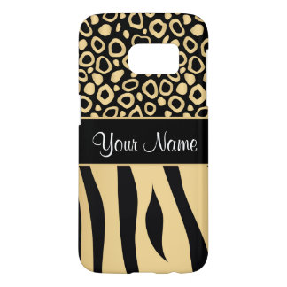 Black and Gold Leopard and Zebra Pattern Samsung Galaxy S7 Case