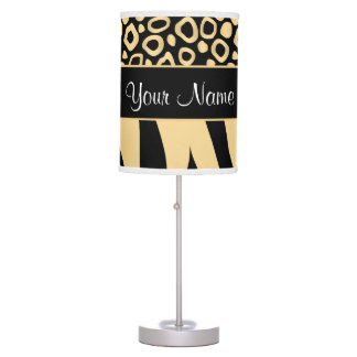 Black and Gold Leopard and Zebra Pattern Table Lamp