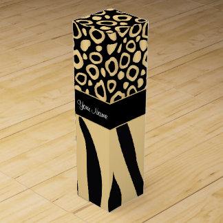 Black and Gold Leopard and Zebra Pattern Wine Box