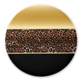 Black and Gold Leopard Animal Print Ceramic Knob