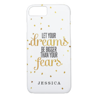 Black and Gold Let Your Dreams Inspirational Quote iPhone 8/7 Case
