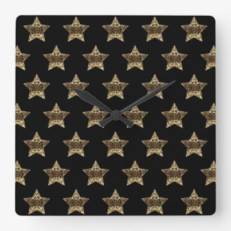 Black and Gold Look Stars Pattern Elegant Square Wall Clock