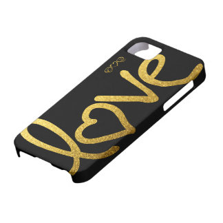 Black and Gold Love Case For The iPhone 5