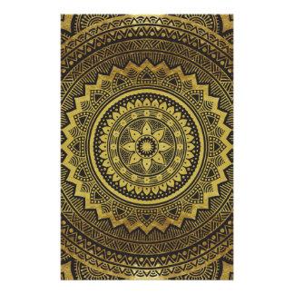 Black and gold mandala customized stationery