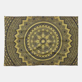 Black and gold mandala towels