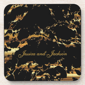 Black and Gold Marble Design Coaster