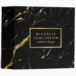Black and Gold Marble Designer Binder
