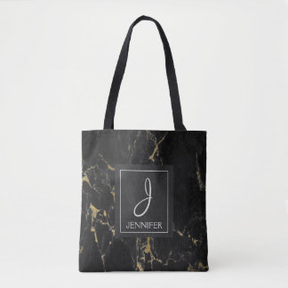 Black and Gold Marble Monogram Book Bag