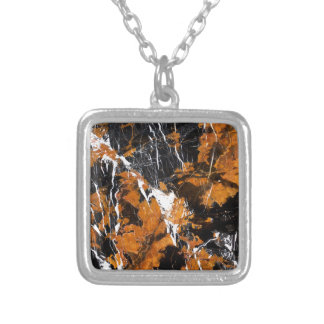 Black and gold marble silver plated necklace