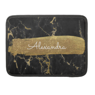 Black and Gold Marble with Gold Foil and Glitter Sleeve For MacBook Pro